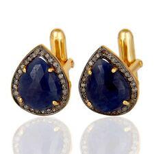 Blue Sapphire Gemstone 925 Silver 18k Gold Plated Men's Diamond Cufflinks