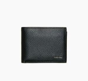 Calvin Klein Men's Pebble Leather Aviator Wallet Black