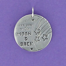 I Love You to the Moon & Back Round Charm Sterling Silver 925 for Bracelet NEW