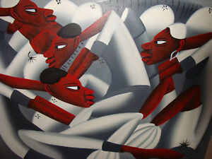 HAITIAN AFRICAN ABSTRACT PAINTING CANTAVE WOMEN MEN FARM FRUIT BLACK PEOPLE ART
