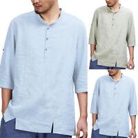 Men's Linen Baggy Shirts Half Sleeve Casual Henley T-shirt Beach Tops Blouse Tee