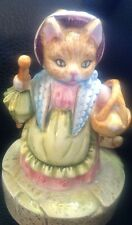 Vintage Schmid BEATRIX POTTER Mrs Ribby Cat Ceramic Musical Figurine Free Ship!