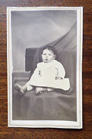 Antique 1860s CDV Card Photo of Infant Baby Girl with Dark Hair, Middlebury VT