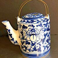 Asian Style Teapot Blue White Floral Double Handle Porcelain Collectible Decor