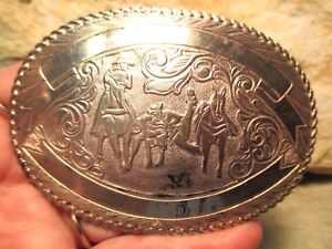 Old Store Inventory Vintage CRUMRINE JEWLERS Bull Dogging Rodeo Belt Buckle