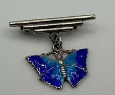 Superb Art Deco Hallmarked Solid Silver Blue Enamel Butterfly Brooch