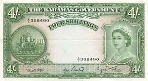 Bahamas 4 Shillings 1953 P-13d AU