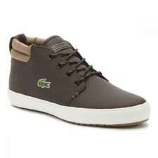 Lacoste Mens Ampthill Terra Trainers Hightops Sneakers Brown White
