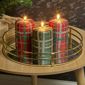 3 x 40hr Wax Red & Green Tartan Christmas Glitter Candles Home Xmas Table Decor