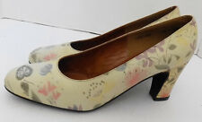 NOS Vintage Mr. Seymour Pastel Floral Leather Shoes Ivory 5 1/2 B Made in Spain