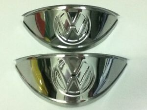 VOLKSWAGEN STAINLESS STEEL VW LOGO HEADLIGHT EYEBROWS PAIR FOR VW BUG BUS GHIA