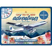 Pan Am Flugzeug Airport Nostalgie Blechschild 40 cm Tin sign shield