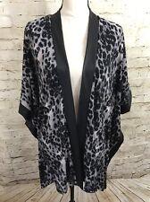 NEW SLINK BRAND Gray Cheetah Print Cardigan Cover Up Jacket E6059
