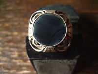 super toller Art Deco Designer Ring Onyx 835er Silber 17,5 mm Gr 55 Handarbeit
