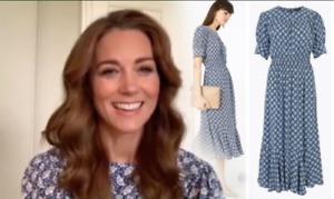M&S Kate Middleton Cabbage Print  Yoke Waisted Midi Dress UK 10 Reg BNWT