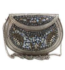 Ethnic Clutch Vintage Handmade metal Mosaic stone Shell purse Handbag for women