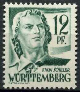 Wurttemberg 1947-1948 SG#FW4, 12pf Blue-Green MNH #D99638