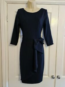 Ladies Navy Blue Bow Side Fitted Dress Size 14 By City Goddess