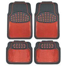 carXS 4pc Car Rubber Floor Mats Front Rear Red Metallic w/ Black Trim