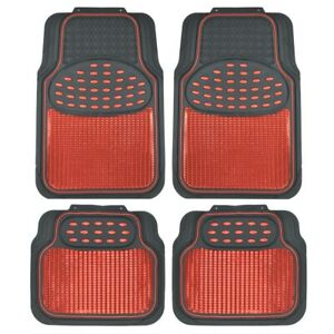 4pc Car Rubber Floor Mats Front Rear Red Metallic w/ Black Trim