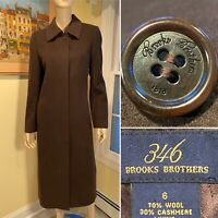 BROOKS BROTHERS 346 Brown Wool/Cashmere Long Coat Overcoat Womens Size 6/Small