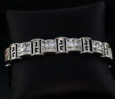 "Mens G's Logo Sparlky CZ Sterling Silver Bracelet 9"" 12 mm Wide 51g Greek Key"