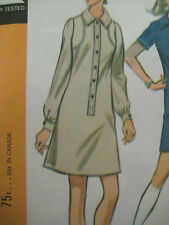 Vintage McCall's SHIRT-STYLE MINI DRESS w/ BUTTON FRONT Sewing Pattern Women