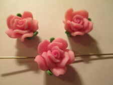 50 Pink 16 mm 2 Tone Poly Clay Flower Beads G22
