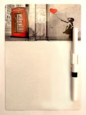 Banksy Phonebox A5 Magnetic Memo Board Message Note Kitchen Fridge & Drywipe Pen