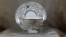 MARCO FINE CHINA Co Tea Cup & Saucer HEAVY SILVER TRACERY   EXCELLENT!!