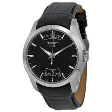 New Tissot Couturier Black Dial Mens Leather Strap Watch T0354071605100