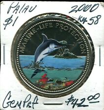 2000 Palau $1 Proof Colorized Coin Marine Life Protection, Swordfish & Mermaid