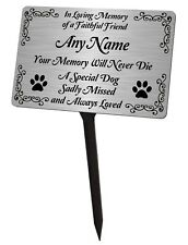 Personalised Dog Memorial Plaque & Stake. Brushed Silver Waterproof garden grave