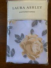 "Laura Ashley Juliette Print Napkins Set Of 4 White Gold Gray Floral 17"" X 17"""