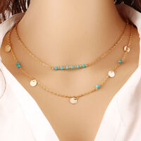 Charm Women Double Layer Turquoise Crystal Choker Chunky Pendant Chain Necklace