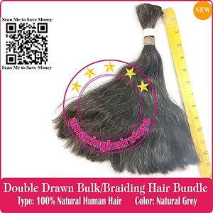 """4OZ-12"""" Double Draw 100% Natural GREY Human Hair Braiding Bulk Make Toupee Wigs"""