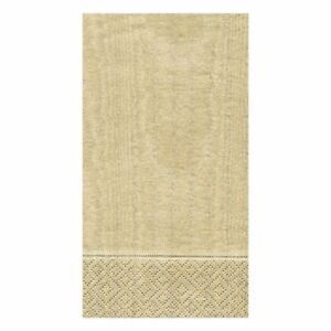 Caspari Paper Guest Towel Napkins, Moiré Gold, 2 Packs (972G)