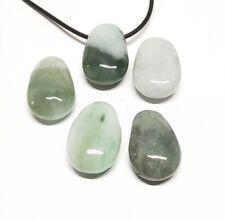 JADE ( JADEIT ) echte Burma Jade - GEBOHRTER TROMMELSTEIN ANHÄNGER