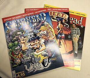 Set Of 3 New Gearhead Magazines Hot Rods Punk Rock Kustom Kulture Davey G.