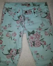 GJG Mint Green Floral print Skinny Jeans Jr. Miss SZ 5 Made in Los Angeles USA