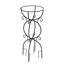 Garden Stake Bird Bath Stand  Black Metal