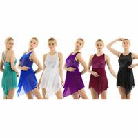 Damen Pailletten Tanzkleid Asymmetrisch Kleid Glitzer Latin Ballett Tanz Kleider