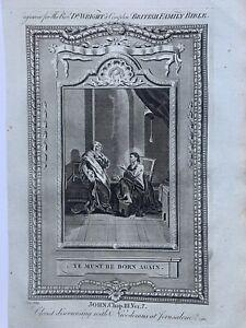 1770 Jesus Christ to Nicodemus Ye Must Be Born Again Biblical Antique Print