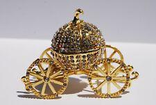 Swarovski Crystal Bejeweled Enameled Hinged Trinket Box-Whitestone Pumpkin Coach