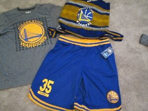 NEW GS Warriors 3pc Outfit DURANT s/s + 35 Blue/Gold Shorts+BKPACK YXL FREE SHIP