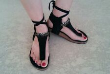 $88 FREE PEOPLE Leather Ankle Wrap Gladiator Thong Sandals Sz 37 / 7 Black #66