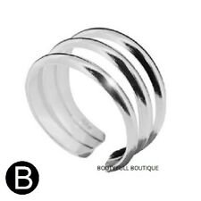 Triple Plain Band Toe Ring Genuine Hallmarked Solid Sterling Silver Adjustable