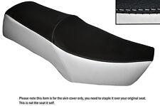 Blanco Y Negro Custom encaja Suzuki Gn 250 87-96 Cuero Doble cubierta de asiento solamente