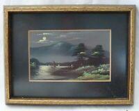 Framed Miniature Landscape Oil Painting of Lake Pines Boat POSTCARD 1920's uu