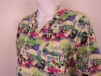 Michael Leu Art to Wear Top Shirt Size S 1/2-3/4 Sleeves Town Scene V Neck